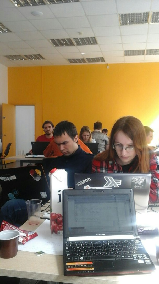 Working hard on our team's task in Genehack-2